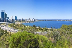 Perth City, Swan river & Narrows Bridge from Kings Park_Panorama 4